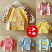 Wholesale free shinppingDress shipping cotton baby gowns waterproof anti dress Korean children eat baby clothing protective clothing smock aprons