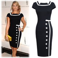 Wholesale 2014 Fashion Women OL Pencil Dress Square Neck Button Bodycon Midi Dress Business Party Clubwear Black G0393