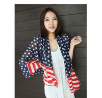 Wholesale NEW long oversized striped star American flag pattern scarf scarves shawl collar female