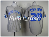 Wholesale Toronto Blue Jay Joe Carter Gray Throwback Jersey stitching baseball jerseys Cooperstown Collection retro baseball uniforms shirts