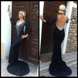 2020 Sexy New Fashion Black With Long Sleeve Backless Real Sample Mermaid Evening Dresses Prom Dresses Elastic Satin