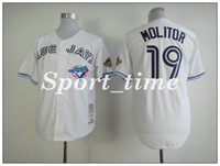 Wholesale blue jays throwback baseball jerseys Paul Moliter white cheap stitching jerseys Cooperstown Collection best sports jerseys baseball wear