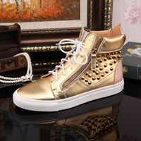 Cheap New 2014 men and women brand crystal high top sneakers,designer gloden genuine leather luxury causal sports shoes 36-46