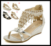 Women wedges - 2014 New Silver Gold Wedding Bride Shoes Bohemian Shiny Beaded Sandals Shoes sexy women low heeled wedge sandals ePacket