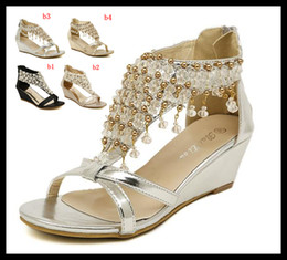 Wholesale 2014 New Silver Gold Wedding Bride Shoes Bohemian Shiny Beaded Sandals Shoes sexy women low heeled wedge sandals ePacket