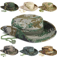 Wholesale 2013 NEW Fashion Combat Camo Ripstop Army Military Boonie Bush Jungle Sun Hat Cap Hiking for Men Women Fishing