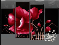 hotel kitchen flower 4 Piece Wall Art The Picture Modern Abstract Acrylic Flower Red Orchid Oil Painting On Canvas Modern Decorative Prints Pictures