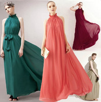 Wholesale 2014 Fashion Summer Womens Casual Elegant Chiffon Maxi Runway Dresses Ruffle Neck Sleeveless Cocktail Evening Gown party Long Prom Midi Sexy