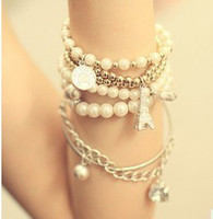 Wholesale Charming Multilayer Pearl Star Ctystal Coin plastic Beads Eiffel Tower Bangle Cuff Bracelet set
