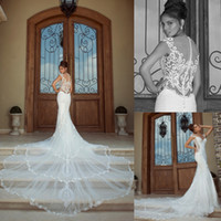 Trumpet/Mermaid dress material - Sheer lace mermaid galia lahav wedding dress with diaphanous material splice long trail slim bridal gowns