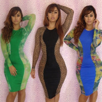 Casual Dresses Round Mini 2014 Hot Sale Ladies Green Blue Brown Celebrity Print Color Bandage Dress Bodycon Evening Club Party Sexy Slim Dreses S M L