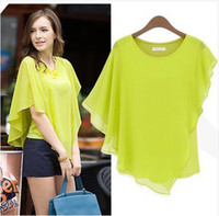 Wholesale Hot Summer Europe Style Design Chiffon Woman Blouses Bat Sleeves Round Neck Chiffon Tops Sexy Elegant sizeS XL Blue Green Khaki colors