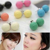 Stud Unisex Plastic Wholesale - 2014 NewMany colors candy stud earrings, Girl's Earrings Fashion jewelry New jewelry Korean jewelry 10 Color can be selected