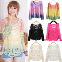 Wholesale New Fashion Women s Sheer Sleeve Embroidery Top T shirt Sexy Lace Floral Crochet casual Blouse Shirt