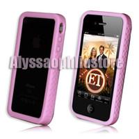 al por mayor púrpura caso del iphone 4s-El caso suave del silbido de silicona del color de rosa / púrpura encajona el protector de la cubierta de la piel del capítulo para el iPhone 4G 4S de Apple