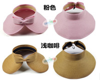 Wholesale Woman Wide Brim Roll Up Sun Straw Beach Hat Visor Cap Foldable
