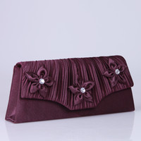 Wholesale Hote sale Purple Bridal Handbags Purse high quality Gorgeous Evening Party Handbags Evening Bag Hand Made Flower Crystal Bridal Handbags