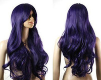 Wholesale New COS sexy Wavy long Dark Purple women s wig Kanekalon Fiber curly wig