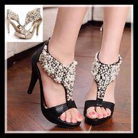 Women women dress shoes - 2014 New Luxury Beading Wedding Shoes sexy women dress shoes high stiletto heel pump fashion prom dresses black sandal ePacket