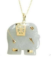 Cheap Wholesale Asian NATURAL White Jade Elephant Pendant Necklace
