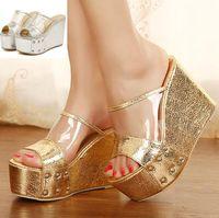 Wholesale 2014 New sexy shiny gold silver transparent shoes platform wedge peep toe high heel slipper women summer sandals ePacket