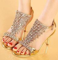diamond wedding shoes - 2014 Luxury Gold Silver Dance Shoes Crystal Diamond Wedding Shoes designer shoes women high heel groom dress shoes Size to