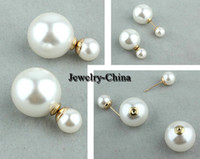 Wholesale 2014 New Arrival pairs Korea Style Gold Plated Alloy Double Pearls Ear Stud Earrings Hot Sale