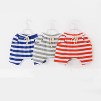 Wholesale Lowest Price Casual shorts baby Girls boy Colorful striped shorts hot pants harem pants kids clothes gray blue Orange