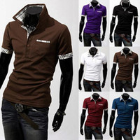Wholesale 2014 new fashion tops for men Print Casual Slim o neck Polo Shirt