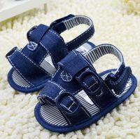 Unisex denim fabric - 2014 summer barefoot sandals Blue denim fabric baby shoes Cheap Velcro toddler shoes CMsoft corner Gladiator Sandals pair CL
