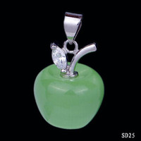 Asian & East Indian amethyst apple - 925 Sterling Silver Dangle Pendant Cute Green Crystal Apple For Girl Lady Necklace Jewelry DIY Making SD25
