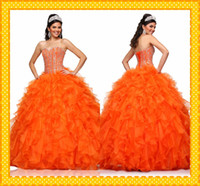 Wholesale Princess Orange Sweetheart Quinceanera Dresses Rich Flouncing Ball Gown Lace up Crystal Beads Prom Gowns With Short Sleeve Jacket