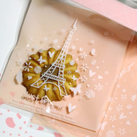 opp adhesive plastic wrap - Eiffel Tower Plastic Cellophane Bags Cookie Bags Bakery Cookie Cake CaNdY Bags self adhesive gift wrapping bag Clear Cello Bags