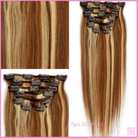 Brazilian Hair Mix Color Straight Qingdao Right Hair clip in hair 5a grade Brazilian virgin hair 7pcs sets color mix 18 613# 70gram 16inch DHL free ship