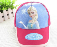 Wholesale Frozen Movie Elsa Children s Caps Rose Red Sun hat Cartoon Girls Ball Hats