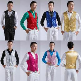 Wholesale 2014 New Sequins men s show vest evening party host wedding groomsman Corset colors Free size