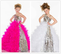 Wholesale 2014 Collection Girl s Pageant Dresses Cute Princess One Shoulder Bling Sequins Organza Fuchsia White Ball Gown Little Flower Girl Dresses
