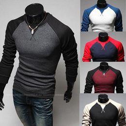 Wholesale Men s Casual Long Sleeve T shirts Slim Hoodies Shirts T shirt color M XXL