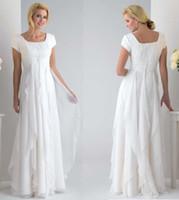 Wholesale Modest short sleeves white ivory Chiffon Bridal Gown Wedding Dress Custom Sizes