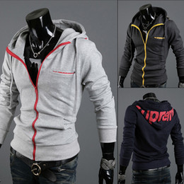 Wholesale Spring and Autumn Men s Zipper Long Sleeve Hooded Cardigan Hoodies Sweater Jackets Outwear