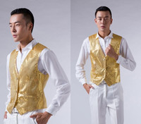 Wholesale 2014 New Gold Sequins men s show vest evening party host wedding groom groomsman Corset Free size
