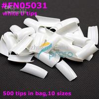 Half French Nail Tips Square  Nail Tips Wholesale - FREESHIPPING 500 well less white french nail art U tips Acrylic Nail Tips Dropshipping SKU:A0016
