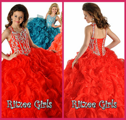 2014 Cheap Flower Girl Dress Spaghetti Ball Gowns Red Organza Lace Up Beading Crystal Ruffle Pageant Dresses