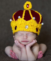 Unisex baby king crown - Princess King Knitted Handmade Imperial Crown Cotton Baby Boys Girls Photography Props Kids Headwear Crochet Costume Hats B3077
