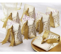 Wholesale 100pcs Ribbon Wedding Favor Candy boxes Gold or Silver color Wedding Party Gift Boxes