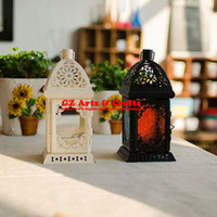Wholesale Candle holder Classical Floor lantern Iron Candlestick Home Decoration Romantic Black and white B1314