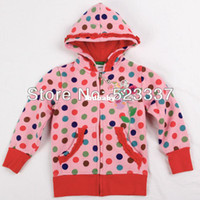 Wholesale FREESHIPPING F3328 m y NOVA kids girls winter clothes lace trimmings polka dot lace trimmings zipper up girls jacket hoodies