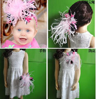 Headbands Blending Feather Wholesale -NEW2014 baby headbandBows baby hair accessories hair bands ribbon Christmas style-CL794H