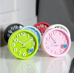 Wholesale Fashion Lovely Modern brief Candy Color Circle Mute Alarm Clock Lounged Solid Color Dual Small Desktop Simple Style Clock Free DHL