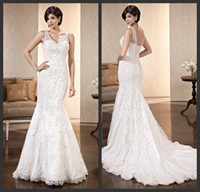 Wholesale 2014 Sexy V neck Mermaid Gowns White Lace Appliques Slim Fit Wedding Bridal Dresses Lace Up Back Bridal Gowns